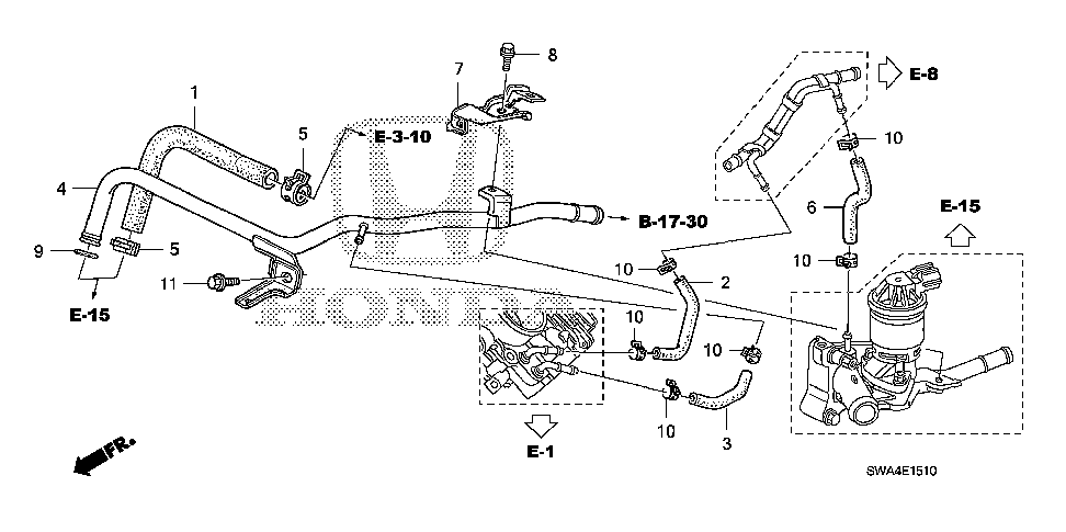 19509-RTB-000 - HOSE, THROTTLE BODY OUTLET