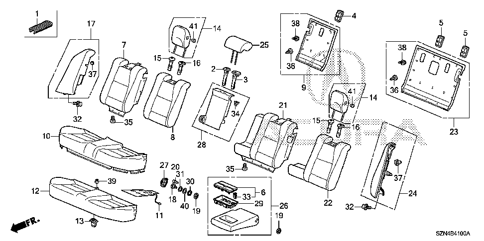 81983-SZN-A01ZG - HOLDER ASSY., RR. SEAT CUP *YR422L*(LIGHT ORCHID)
