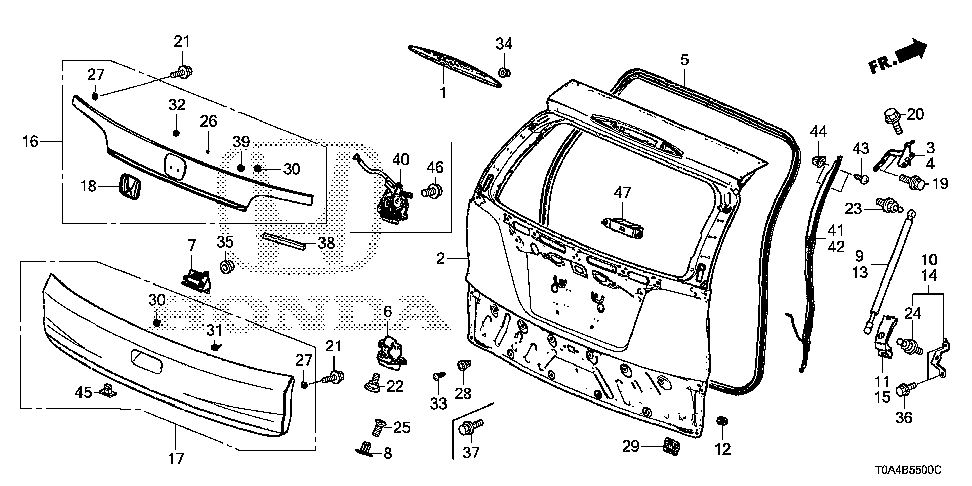 74874-T0A-A00 - COVER, L. TAILGATE OPEN STAY BRACKET