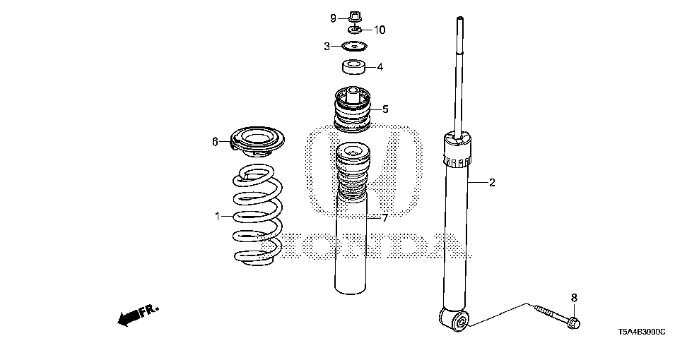 52611-T5R-A51 - SHOCK ABSORBER UNIT, RR.
