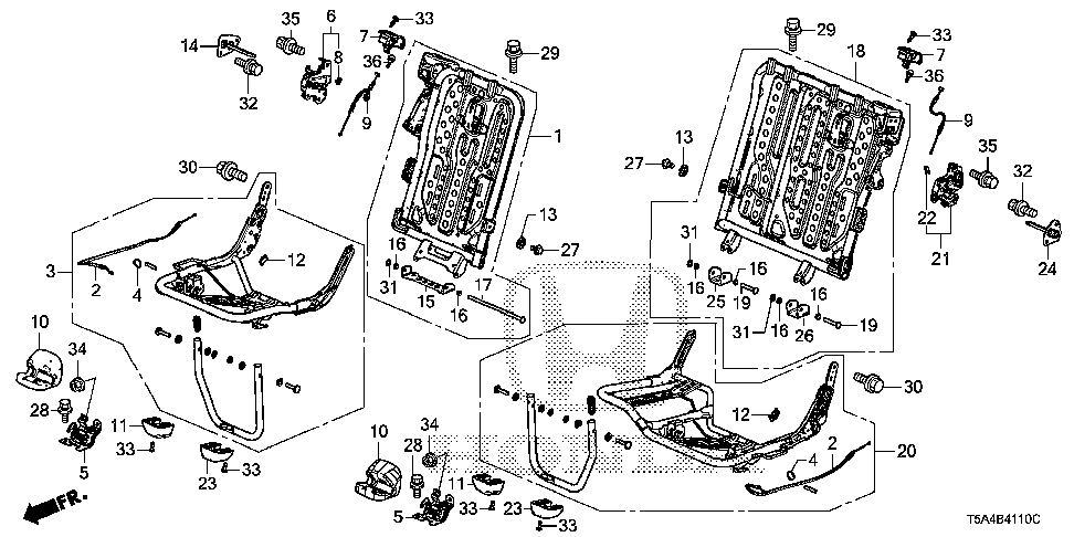 82128-T5R-A11 - PIN, R. RR. SEAT-BACK