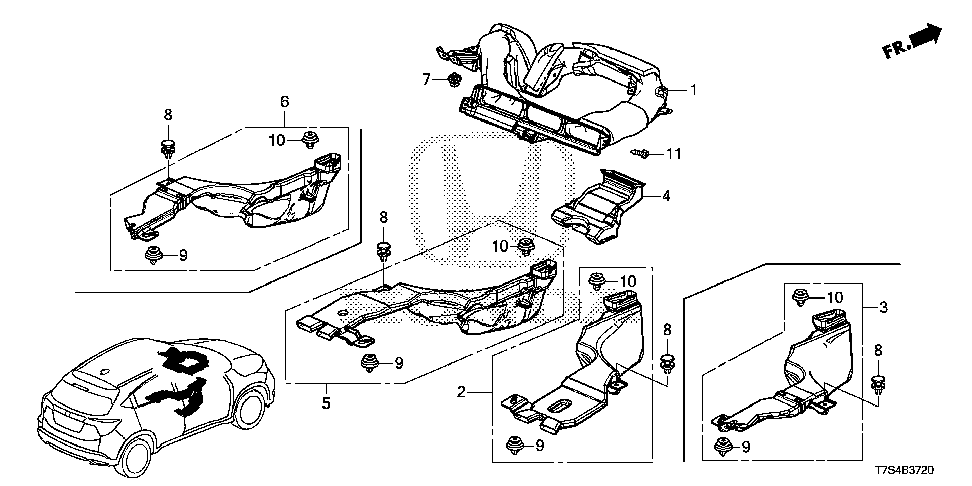 83332-T7J-H00 - DUCT, RR. HEATER JOINT