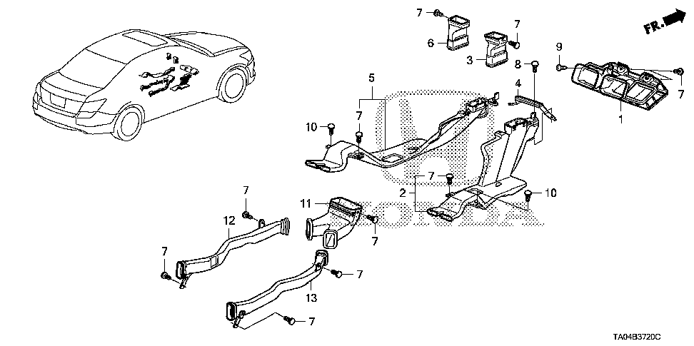 83466-TA0-Y01 - DUCT ASSY., RR. VENT DRIVER