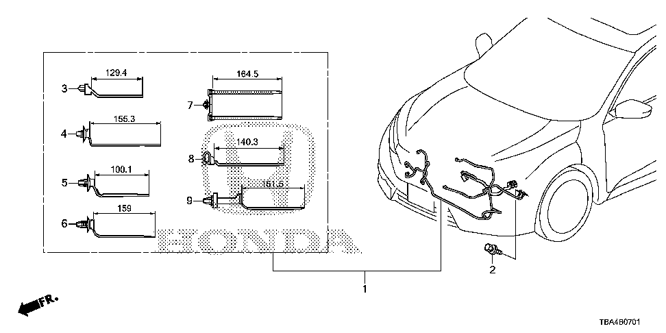 32130-TBA-A30 - WIRE HARNESS, FR. END