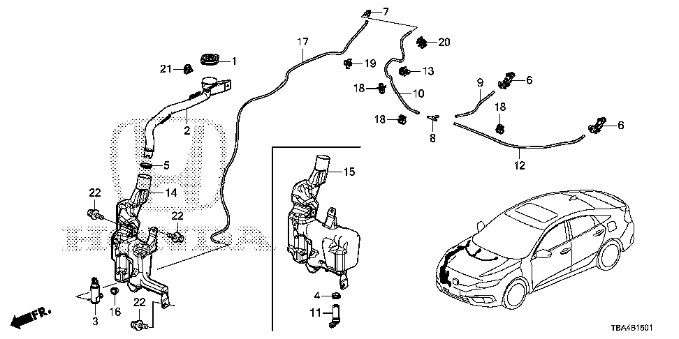 76810-TBA-A01 - NOZZLE ASSY., FR. WINDSHIELD WASHER