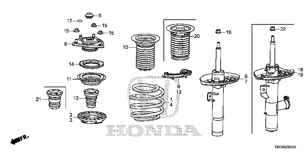 51611-TBH-A11 - SHOCK ABSORBER UNIT, R. FR.