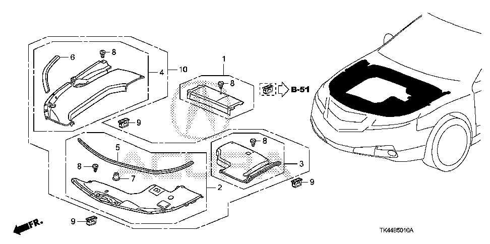 91548-TK4-A01 - LATCH, ENGINE COVER