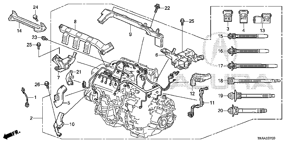 32130-RK1-A10 - HOLDER D, ENGINE HARNESS