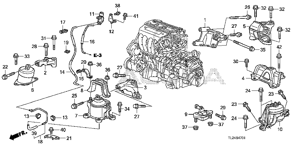 50830-TA0-A02 - RUBBER ASSY., FR. ENGINE MOUNTING