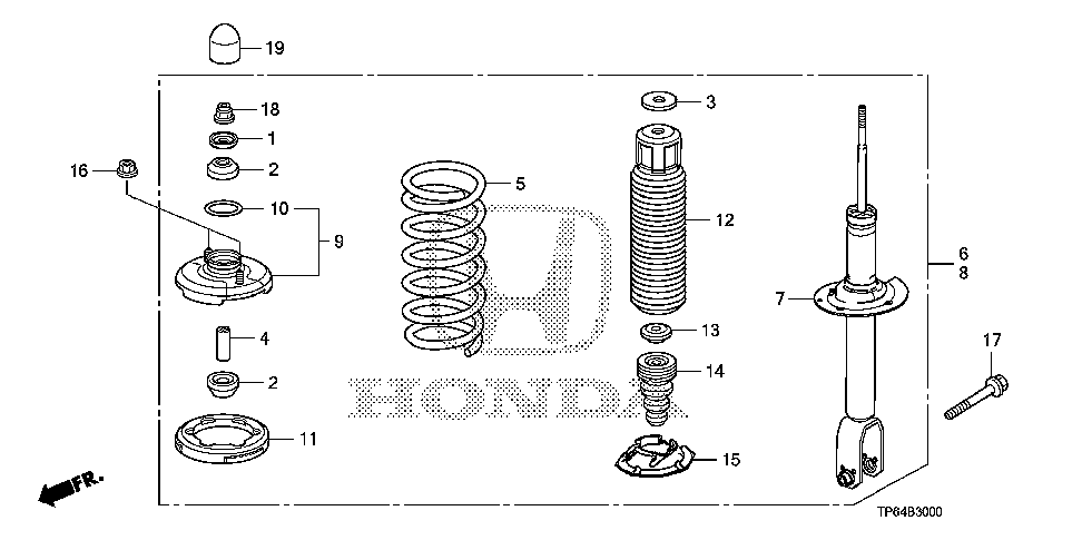 52611-TY4-A03 - SHOCK ABSORBER UNIT, RR.