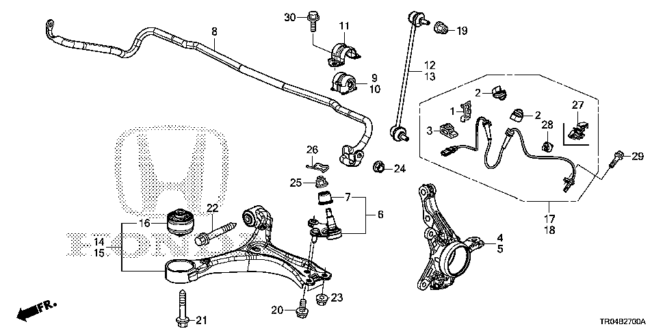 51216-TR7-A10 - KNUCKLE, L. FR.