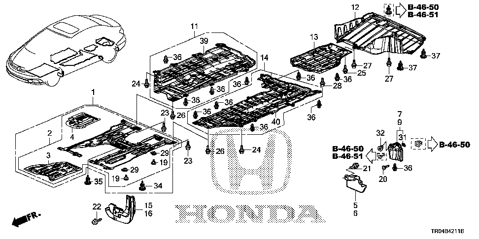 74606-TR0-A00 - COVER, R. FR. FLOOR (LOWER)