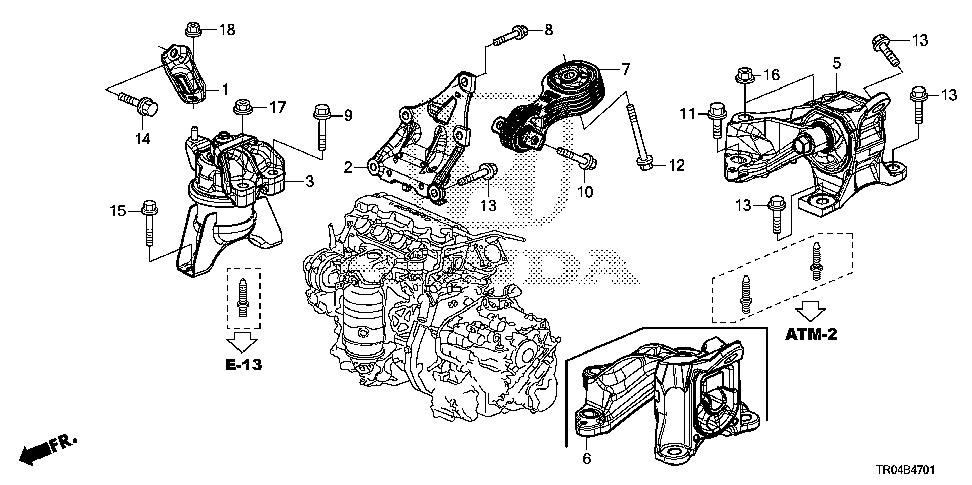 50820-TR0-A81 - MOUNTING, ENGINE SIDE (AT)