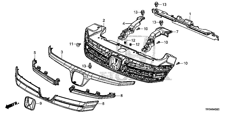 71122-TR2-A01 - MOLDING, FR. GRILLE (UPPER)