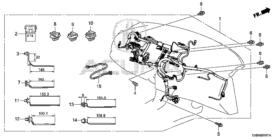 32117-TX8-A01 - WIRE HARNESS, INSTRUMENT (INCLUDE USB CORD)