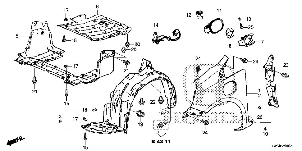 74111-TX9-A00 - COVER, MOTOR (LOWER)