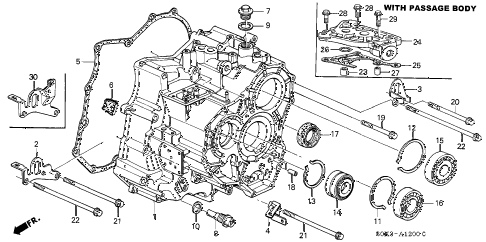 2003 TL 4 DOOR 5AT 5AT TRANSMISSION HOUSING diagram