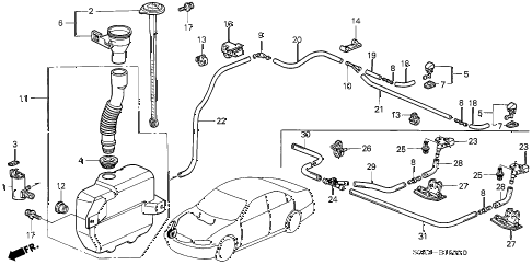 2003 TL TYPE-S 4 DOOR 5AT WINDSHIELD WASHER diagram