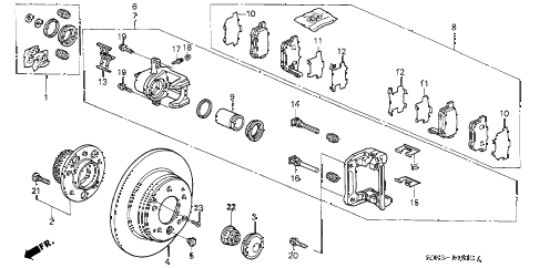 2003 TL TYPE-S 4 DOOR 5AT REAR BRAKE diagram