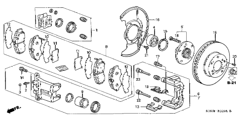 1999 TL 4 DOOR 4AT FRONT BRAKE diagram