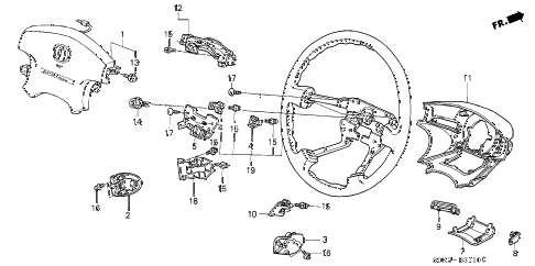 2003 TL TYPE-S 4 DOOR 5AT STEERING WHEEL diagram