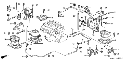 2002 TL TYPE-S 4 DOOR 5AT ENGINE MOUNT diagram