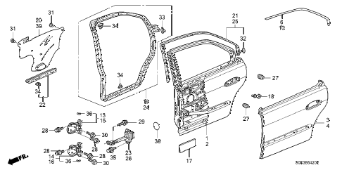 2003 TL TYPE-S 4 DOOR 5AT REAR DOOR PANELS diagram