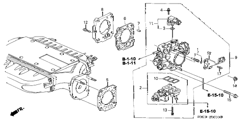2002 TL 4 DOOR 5AT THROTTLE BODY diagram