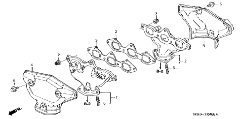 2002 TL 4 DOOR 5AT EXHAUST MANIFOLD diagram
