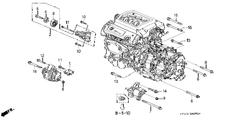 2001 TL 4 DOOR 5AT ALTERNATOR BRACKET diagram