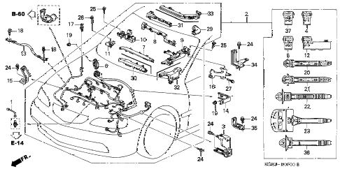 2002 TL 4 DOOR 5AT ENGINE WIRE HARNESS diagram
