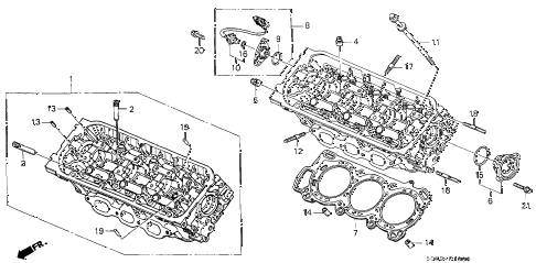2002 TL TYPE-S 4 DOOR 5AT FRONT CYLINDER HEAD diagram