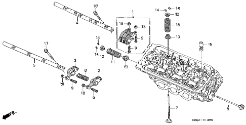 2003 TL 4 DOOR 5AT VALVE - ROCKER ARM (FR.) diagram