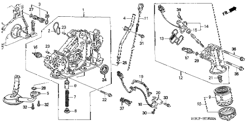 2003 TL 4 DOOR 5AT OIL PUMP - OIL STRAINER diagram