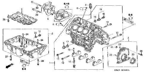 2000 TL 4 DOOR 5AT CYLINDER BLOCK - OIL PAN diagram