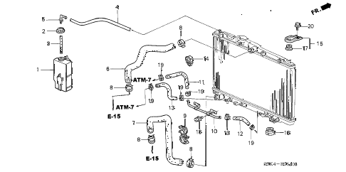 2003 TL TYPE-S 4 DOOR 5AT RADIATOR HOSE diagram