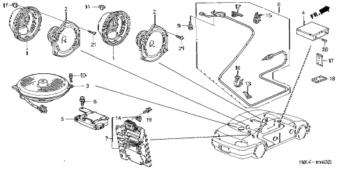 2003 TL TYPE-S 4 DOOR 5AT RADIO ANTENNA - SPEAKER diagram