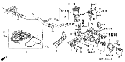 2003 TL 4 DOOR 5AT WATER PUMP - SENSOR diagram