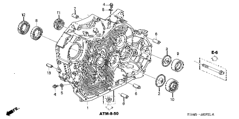 2001 CL SPORT 2 DOOR 5AT TORQUE CONVERTER HOUSING diagram