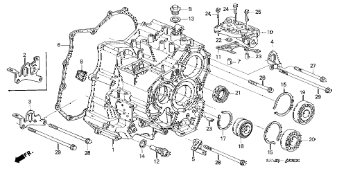 2001 CL PREM 2 DOOR 5AT TRANSMISSION HOUSING diagram