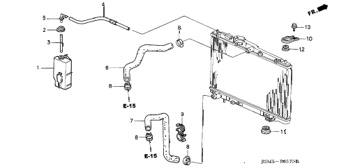 2003 CL PREM 2 DOOR 5AT RADIATOR HOSE diagram