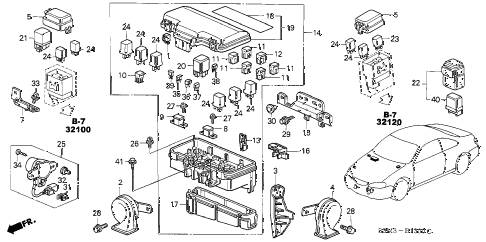 2001 CL SPORT 2 DOOR 5AT CONTROL UNIT (ENGINE ROOM) diagram