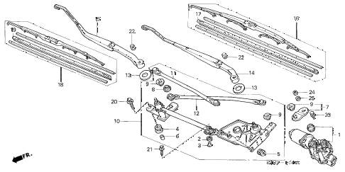2003 CL SPORT 2 DOOR 5AT FRONT WINDSHIELD WIPER diagram