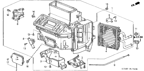 2001 CL SPORT 2 DOOR 5AT HEATER UNIT diagram