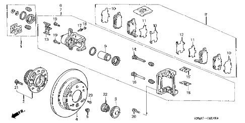 2002 CL PREM 2 DOOR 5AT REAR BRAKE diagram