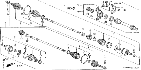 2001 CL SPORT 2 DOOR 5AT DRIVESHAFT diagram