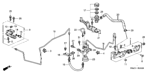 2003 CL SPORT 2 DOOR 6MT CLUTCH MASTER CYLINDER diagram