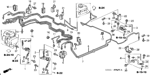 2003 CL SPORT 2 DOOR 5AT BRAKE LINES (VSA) diagram