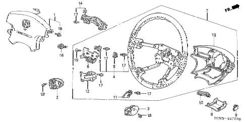 2002 CL SPORT 2 DOOR 5AT STEERING WHEEL (SRS) diagram