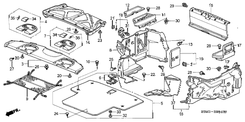 2001 CL SPORT 2 DOOR 5AT REAR TRAY - TRUNK LINING diagram